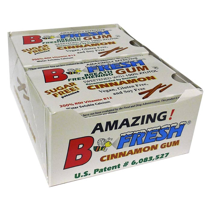 B-Fresh Xylitol Gum - Cinnamon - 144 piece box - Made in the USA