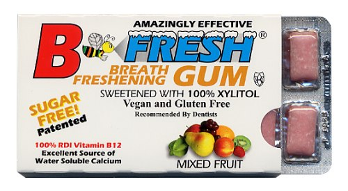 B-Fresh Xylitol Gum - Mixed Fruit - 12 piece sleeve - Made in the USA
