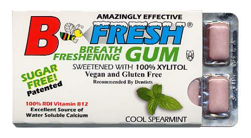 B-Fresh Xylitol Gum - Spearmint - 12 piece sleeve - Made in the USA
