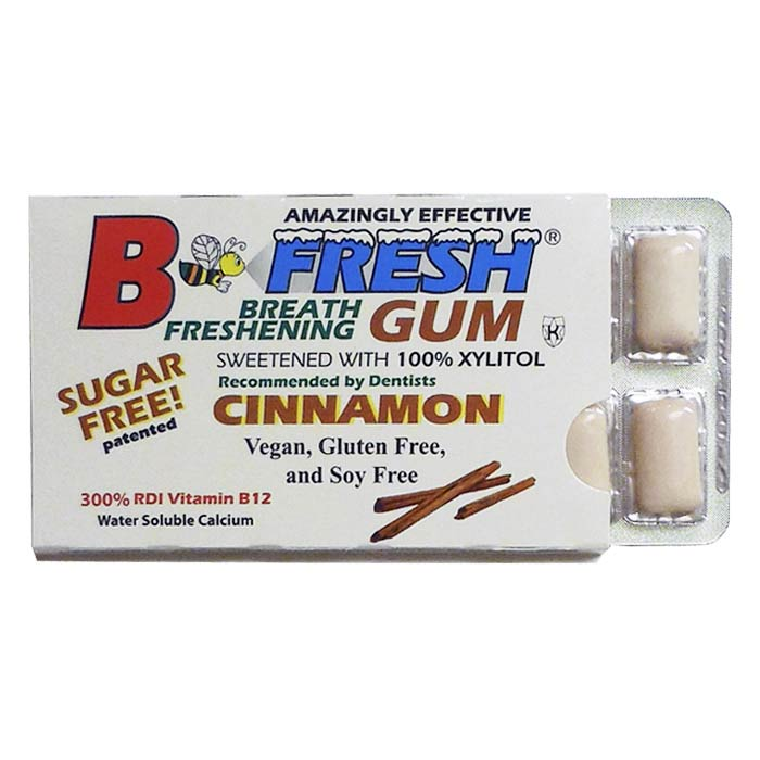 B-Fresh Xylitol Gum - Cinnamon - 12 piece sleeve - Made in the USA