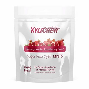 Xylichew Xylitol Mints - Pomegranate Raspberry - 100 pc. bag